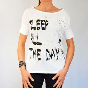 Tee shirt femme Sleep All The Day blanc