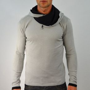 Pull homme col boule gris