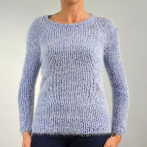 Pull femme maille poilu col rond bleu