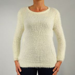 Pull femme maille poilu col rond écru