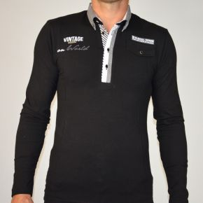 Polo homme Maxway manches longues noir