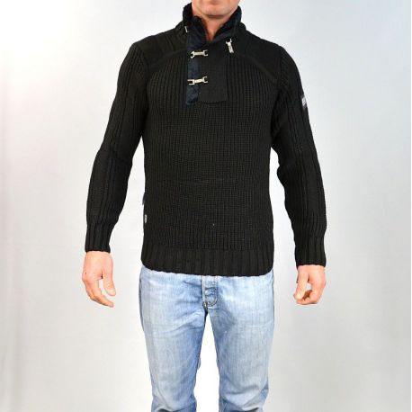 Pull homme col montant noir