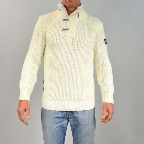 Pull homme col montant écru