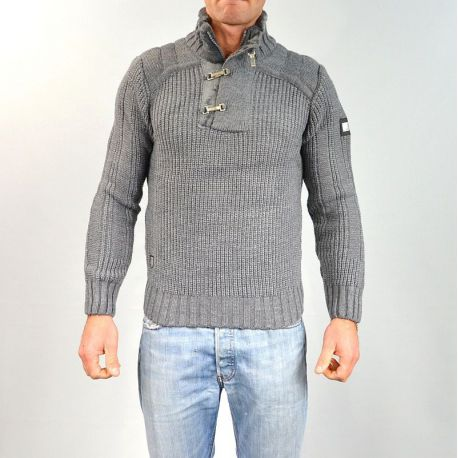 Pull homme col montant gris