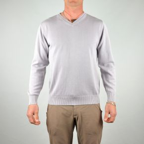 Pull homme col V uni gris clair