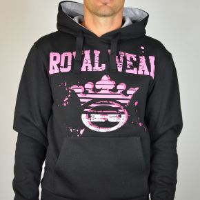 Sweat capuche Royal Wear noir framboise