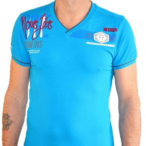 T-shirt Maxway col V manches courtes turquoise