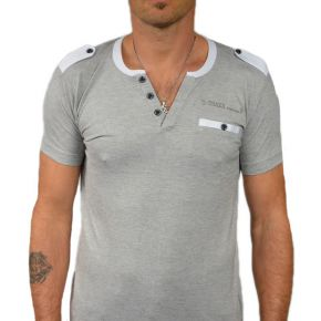 T-shirt homme T-Traxx col V manches courtes gris