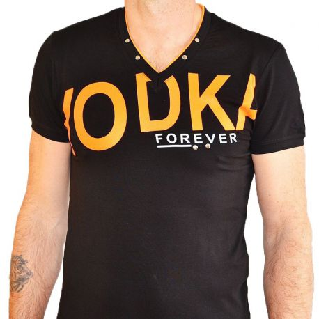 T-shirt Maxway double col V noir floqué orange
