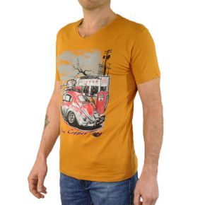 Tee shirt homme col V Tony Copper moutarde