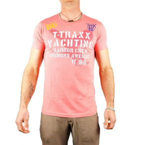 T-shirt T-Traxx col rond rose corail