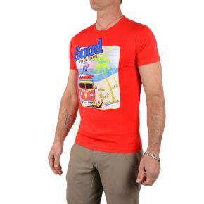 Tee shirt homme rouge manches courtes flocage Good Beer