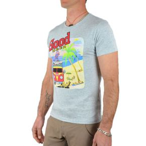 Tee shirt homme gris manches courtes flocage Good Beer
