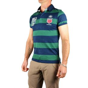 Polo homme style rugby manches courtes vert / marine