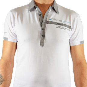 Polo Maxway manches courtes col bouton blanc