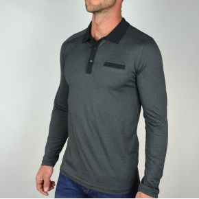 Polo homme manches longues T-Traxx anthracite