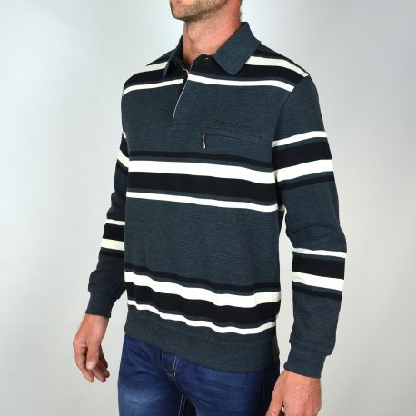 Sweat col polo pour homme