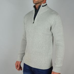 Pull homme T-Traxx double col gris clair