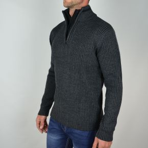 Pull homme T-Traxx double col anthracite