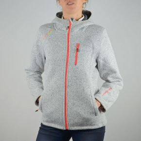 Veste polaire femme Peak Mountain gris chiné zip orange