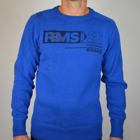 Pull homme RMS col rond bleu
