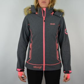 Veste softshell femme Himalaya Mountain tissu gris chiné zip rose