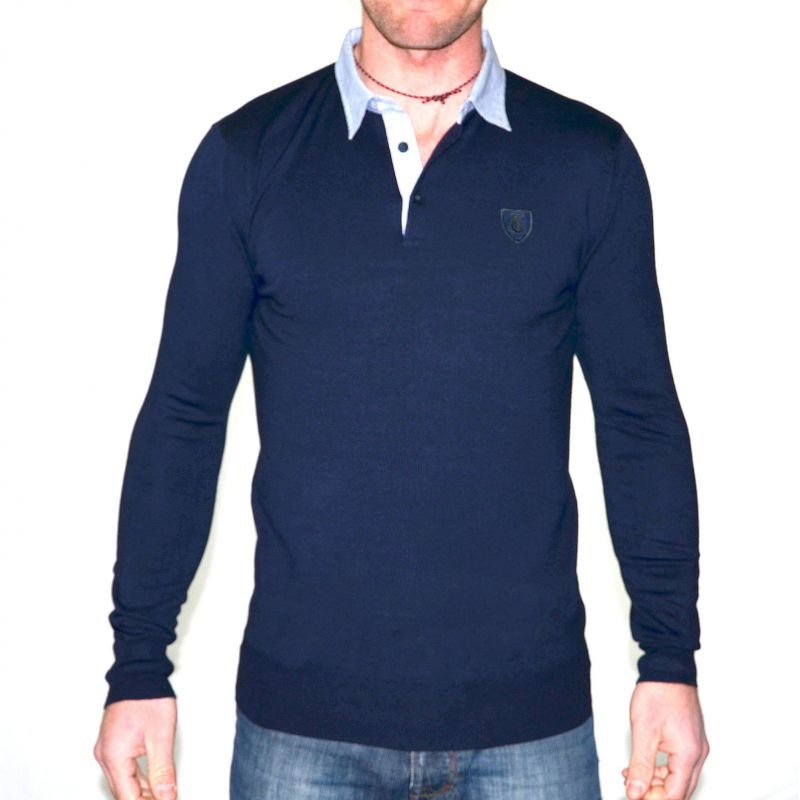 Pull homme t traxx bleu marine col chemise gg jeans for 70 portent un pull bleu