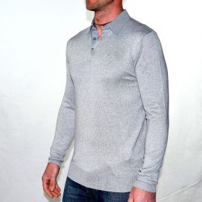 Pull homme T-Traxx gris col chemise