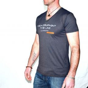 Tee shirt homme T-TRAXX CCA 117 col V anthracite
