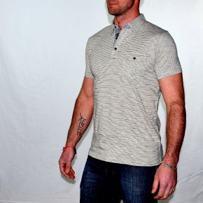 Polo homme T-Traxx manches courtes champagne rayures bleu marine