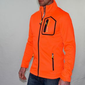 Blouson polar shell homme Peak Mountain orange zip noir