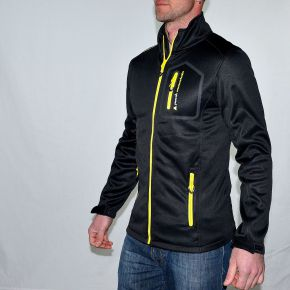Blouson polar shell homme Peak Mountain noir zip jaune