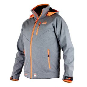 Veste softshell homme Himalaya Mountain tissu gris zip orange