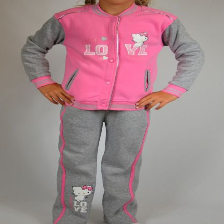 Jogging Charmmy Kitty veste fermeture pressions rose gris