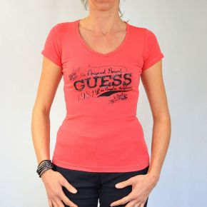 Tee shirt femme Guess col V orange