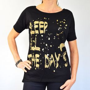 Tee shirt femme Sleep All The Day noir