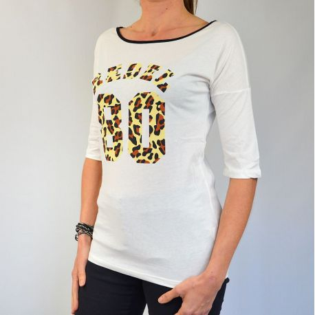 Tee shirt femme manches courtes Rebel 80 blanc