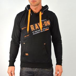Sweat homme Maxway noir imprimé orange