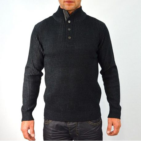 Pull homme T-Traxx col montant noir