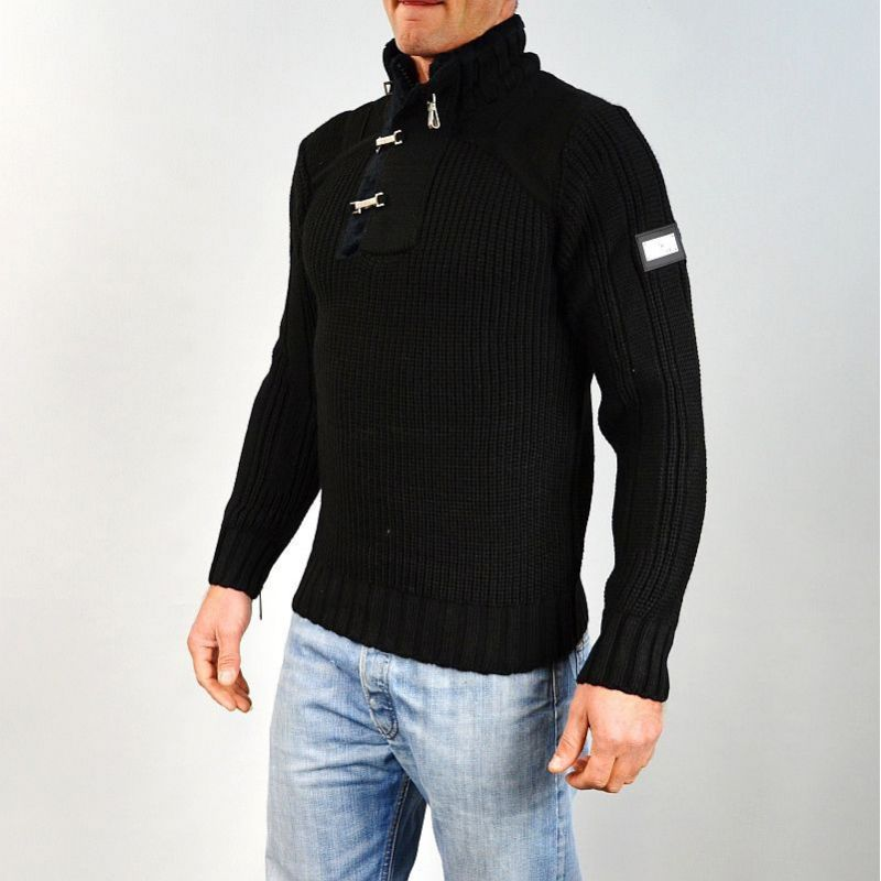 pull homme col montant noir gg