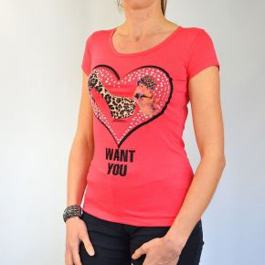 Tee shirt femme Pink Studio col rond rose