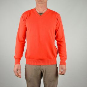 Pull coton homme col V uni orange