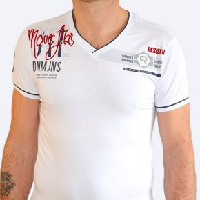 T-shirt homme Maxway col V manches courtes blanc