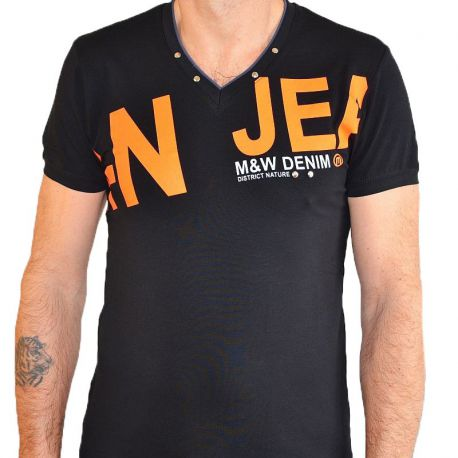 T-shirt Maxway double col V noir imprimé orange