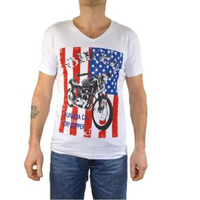 Tee shirt homme col V Tony Copper blanc