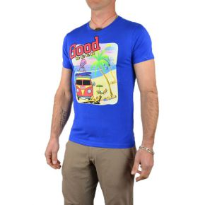 Tee shirt homme bleu manches courtes flocage Good Beer