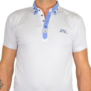 Polo Jim Poweel double col blanc