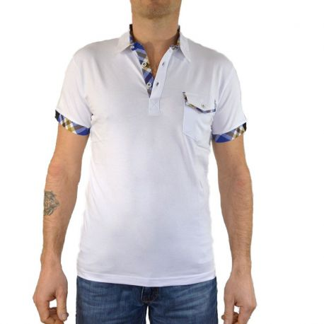 Polo homme Tony Copper manches courtes blanc