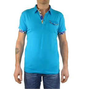 Polo homme Tony Copper manches courtes turquoise