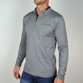 Polo homme manches longues T-Traxx gris